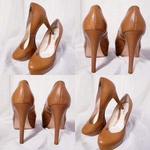 Charles David caramel leather heels size 7.5💞🦄